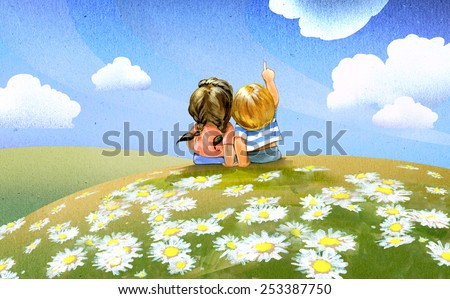 Summer fields with camomile blooming and two children sitting in the grass - stock photo