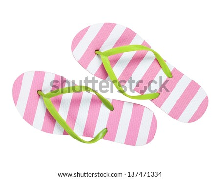 Summer flip flops isolated on white background. Top view  - stock photo