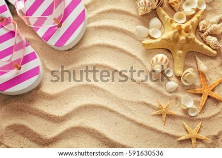 Summer Flipflops On Sand Beach Summer Stock Photo (Royalty Free ...