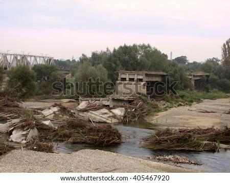 summer flood disaster - stock photo