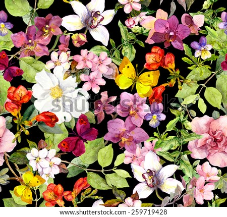 Summer flowers and butterflies on black background. Chic floral pattern. Watercolor - stock photo