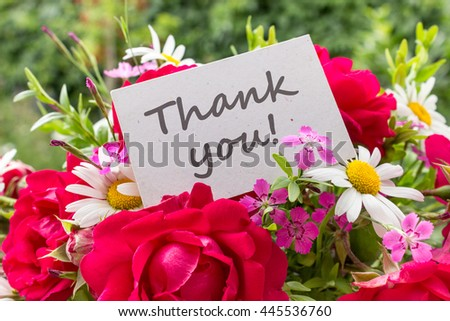 Summer flowers and card with English text: Thank you / Thank you / Thank you card