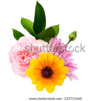 Summer flowers bouquet isolated white - stock photo