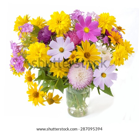 Summer flowers bunch in vase isolated on white background - stock photo