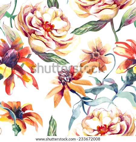 Summer Flowers Seamless Pattern - stock photo