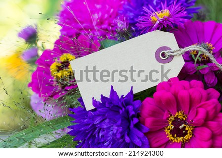 summer flowers with card/summer flowers/heart - stock photo