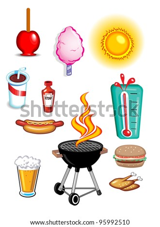 Summer Food Icons - stock photo
