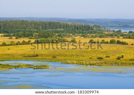Summer forest, field and lake landscape (Karelia, Russia) - stock photo