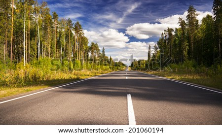 Summer forest road and clouded sky - stock photo