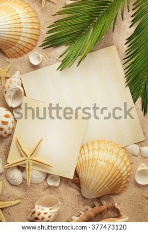 summer frame background. seashells on sand - stock photo