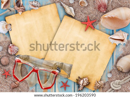 Summer frame with copyspace blank paper and  mask for diving - stock photo