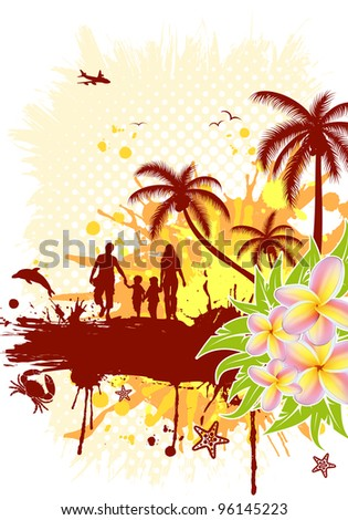 Summer frame with palm tree, dolphin, crab, family, raster version