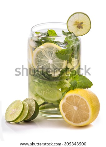 Summer fresh fruit Flavored infused water mix of cucumber, lime, and lemon - stock photo