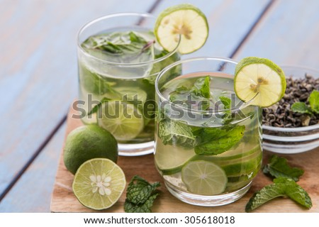 Summer fresh fruit Flavored infused water mix of green tea, lime and mint - stock photo