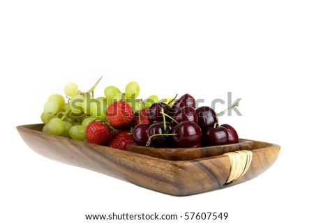 summer-fruit in a wooden tray