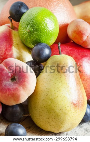 Summer fruit, still life, selective focus