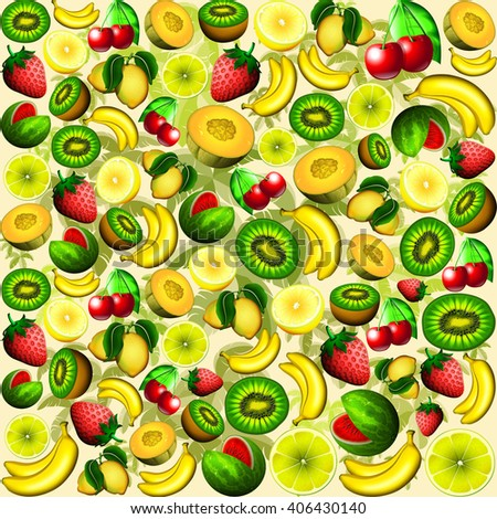 Summer Fruits Juicy Pattern  - stock photo