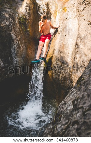 summer fun at the small river - stock photo