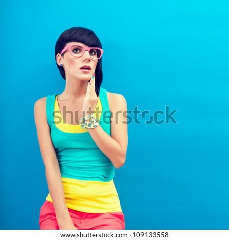 Summer funny girl - stock photo