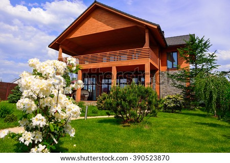 Summer garden chalet. - stock photo