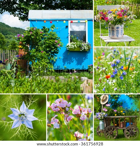 Summer garden collage - stock photo