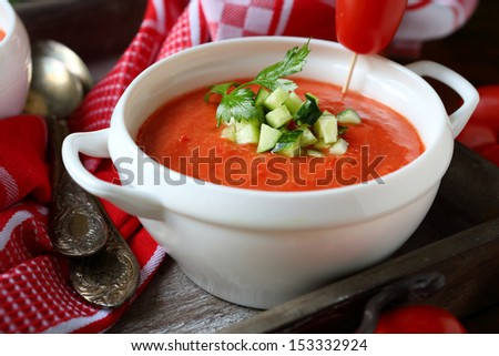 summer gazpacho in tureen, close up