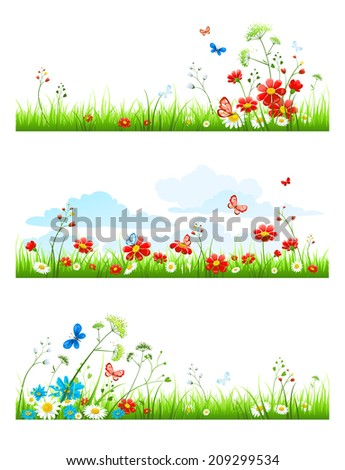 Summer grass and flowers set. Raster version. - stock photo