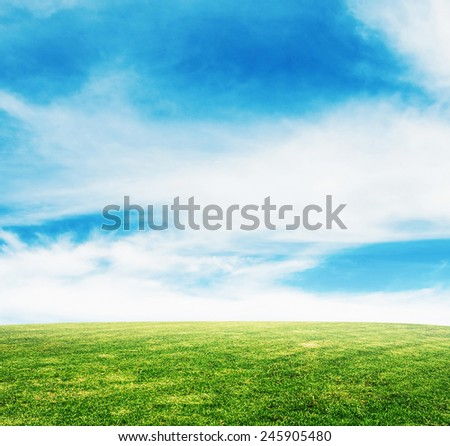 summer grass lawn with sky - stock photo