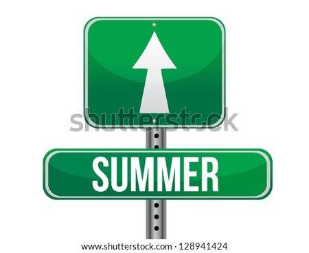 summer green traffic road sign illustration design over white
