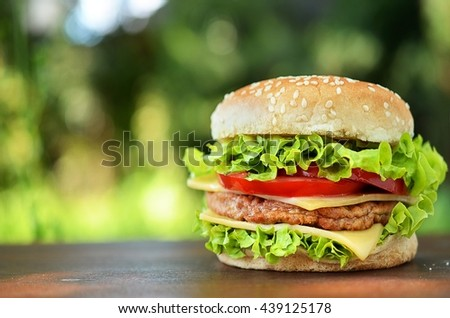 Summer hamburger with vegetables on table in the garden.