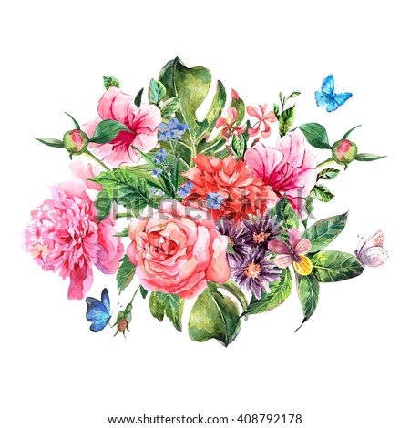 Summer hand drawing watercolor floral greeting card with blooming flowers peonies, roses, daisies, flower buds, violet,  butterfly, decoration flowers natural illustration - stock photo