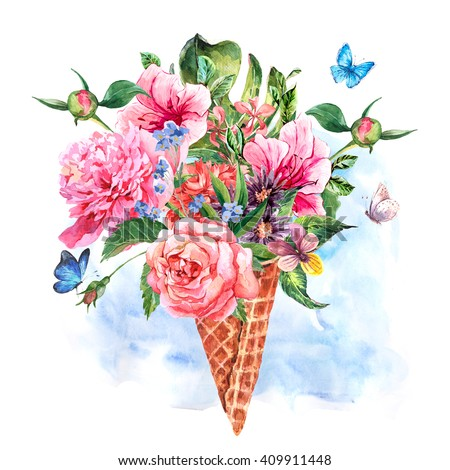 Summer hand drawing watercolor floral greeting card with blooming flowers peonies, roses, daisies, flower buds, violet,  butterfly in waffle cone, decoration flowers natural illustration - stock photo