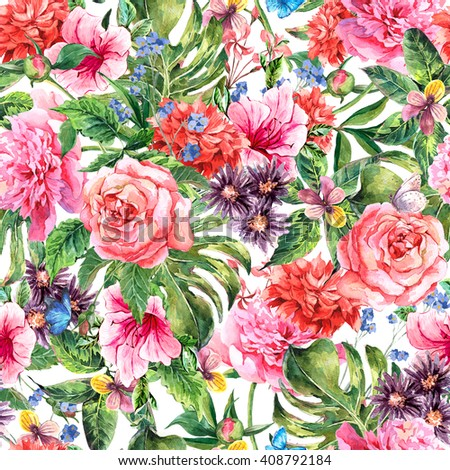 Summer hand drawing watercolor floral seamless pattern with blooming flowers peonies, roses, daisies, flower buds, violet,  butterfly, decoration flowers natural illustration - stock photo