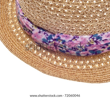 Summer Hat with Floral Pattern Close Up Border Image.