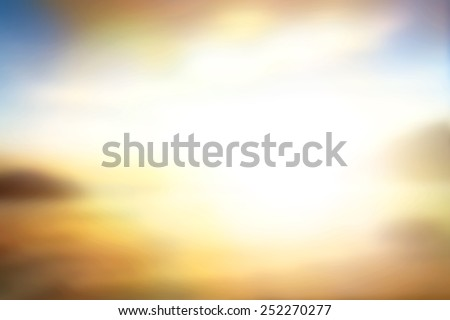 Summer Holiday Concept Sun Light And Abstract Blurred Yellow Beach Sunset Background