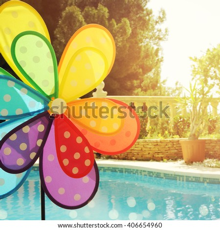 Summer holiday concept with windmill  - stock photo