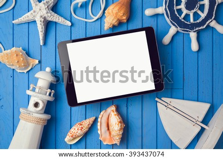 Summer holiday digital tablet mock up template for app presentation. View from above.  - stock photo