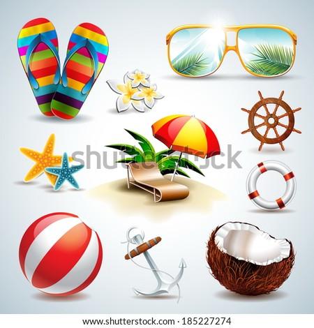 Summer Holiday Icon set on clear background. Eps10 illustration. - stock photo