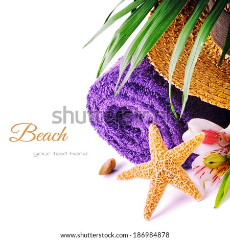 Summer holiday setting with beach accessories  - stock photo