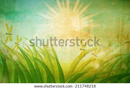 Summer holiday. Spring grass in sun light and blue sky on paper texture background. Grunge background. Vintage background. - stock photo