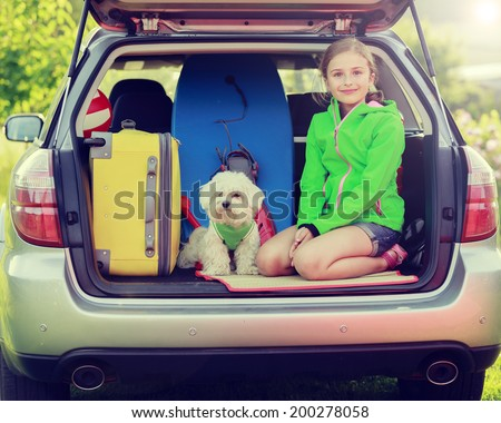 Summer holiday, Travel - girl ready for the travel for summer vacation - stock photo