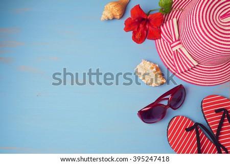 Summer holiday vacation concept  with beach items. View from above. Flat lay - stock photo