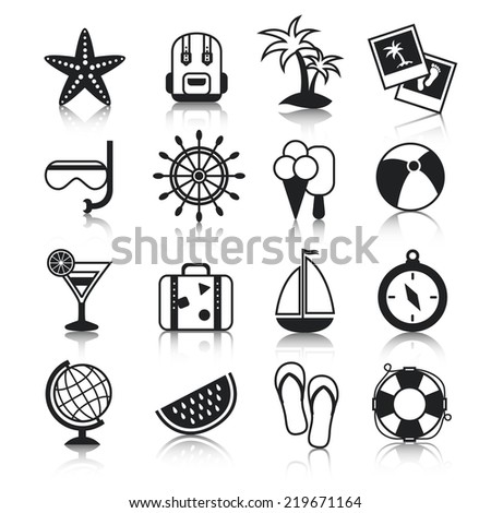 Summer holiday vacation travel agency palm cocktail snorkel mask suitcase baggage pictograms collection black  isolated illustration - stock photo