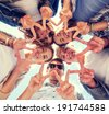 summer holidays and teenage concept - group of teenagers showing peace or victory gesture - stock photo