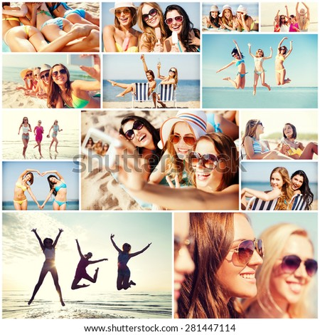 summer holidays and vacation concept - collage of many pictures with pretty girls having fun on the beach and taking selfie - stock photo