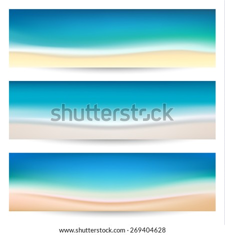 Summer holidays banners with coastline waves   - raster version - stock photo