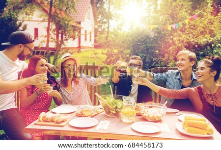 Summer Holidays Celebration People And Food Concept