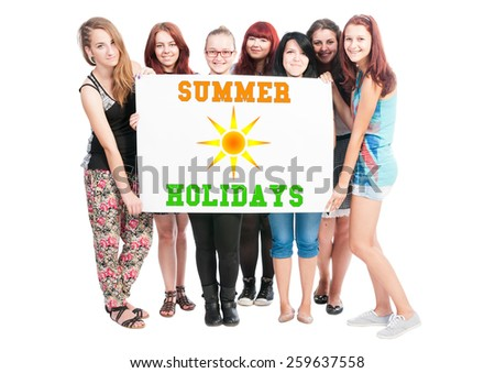 Summer holidays design illustration concept wrote on big white card hold by teen girls - stock photo