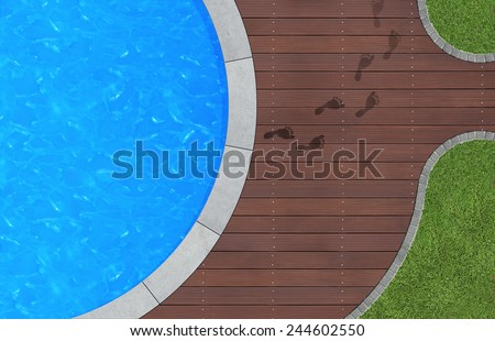 summer holidays image with swimming pool in aerial view - stock photo