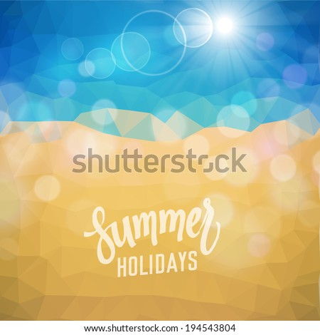 Summer holidays. Poster on tropical beach background. Raster version.